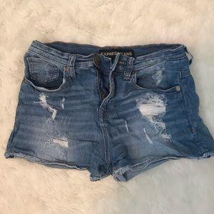 Express denim distressed high waisted shorts